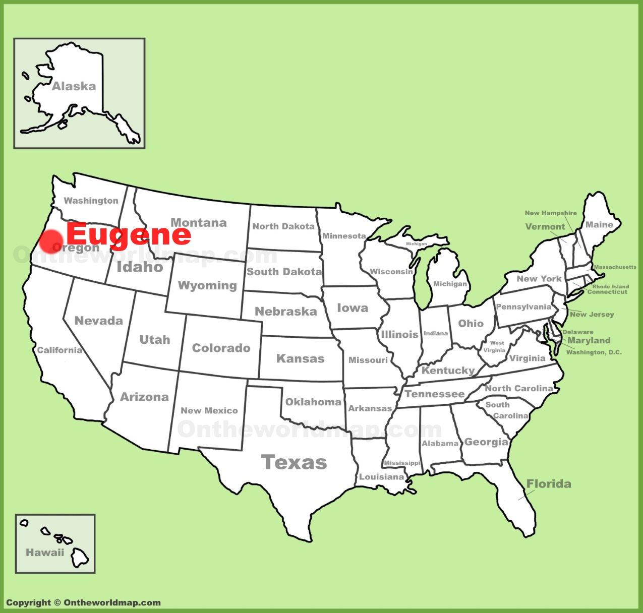 Eugene location on the U.S. Map on