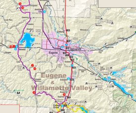 Eugene-Springfield area road map