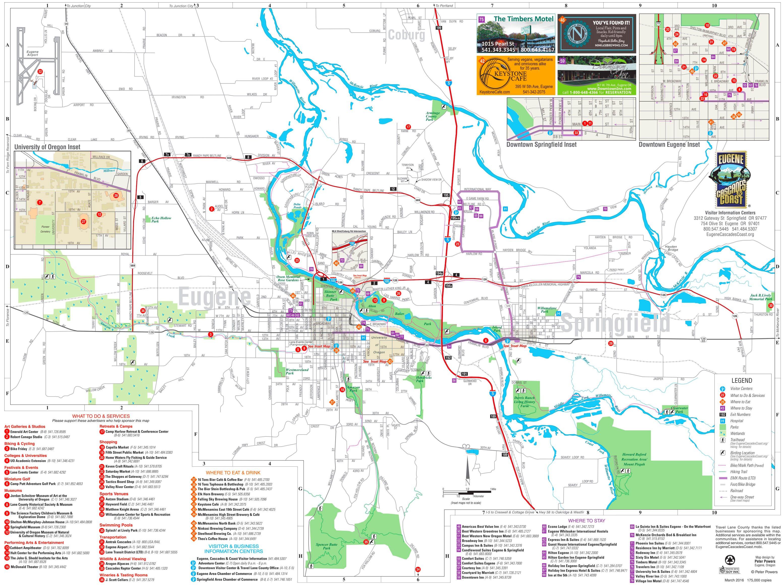 Springfield Usa Map.Eugene Springfield Tourist Map