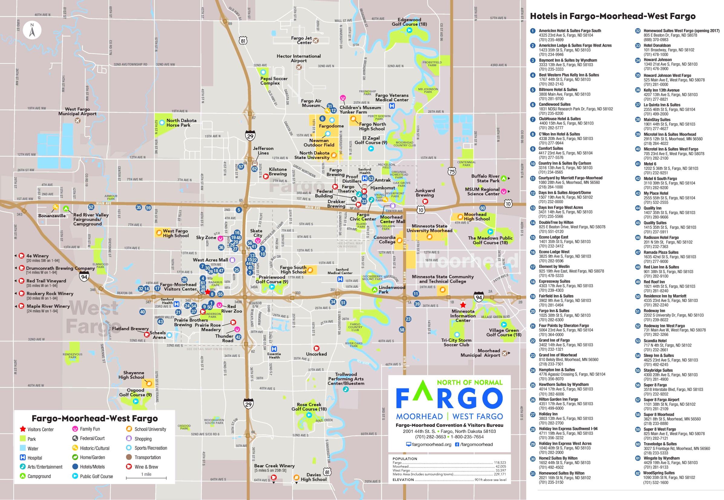 Fargo and Moorhead hotel map