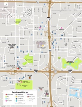Southwest Fargo tourist map