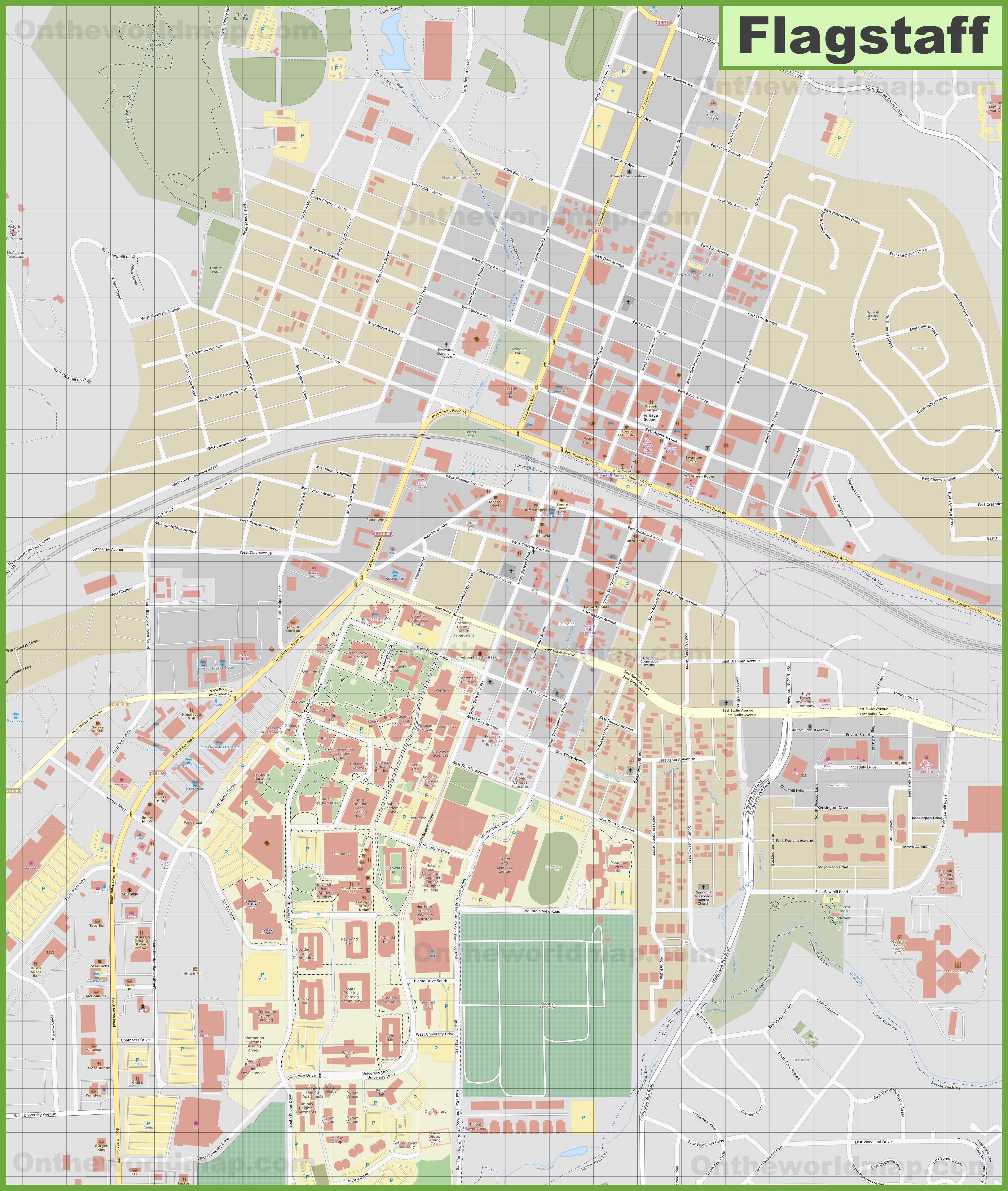 Large detailed map of Flagstaff