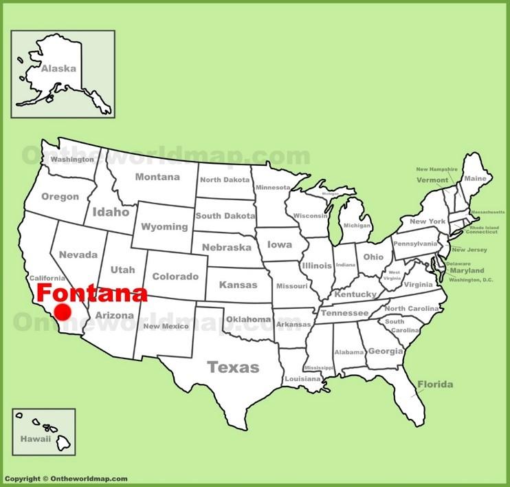 Fontana location on the U.S. Map