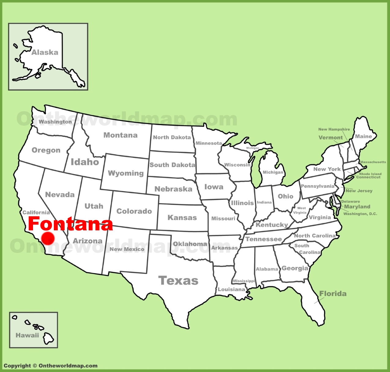 Fontana location on the US Map