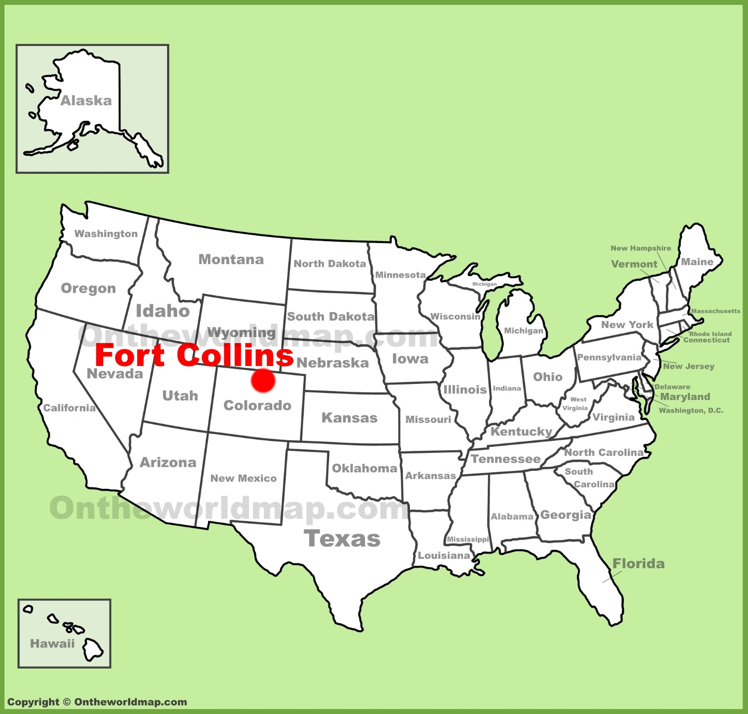 Where Is Fort Collins Colorado On The Map Fort Collins location on the U.S. Map