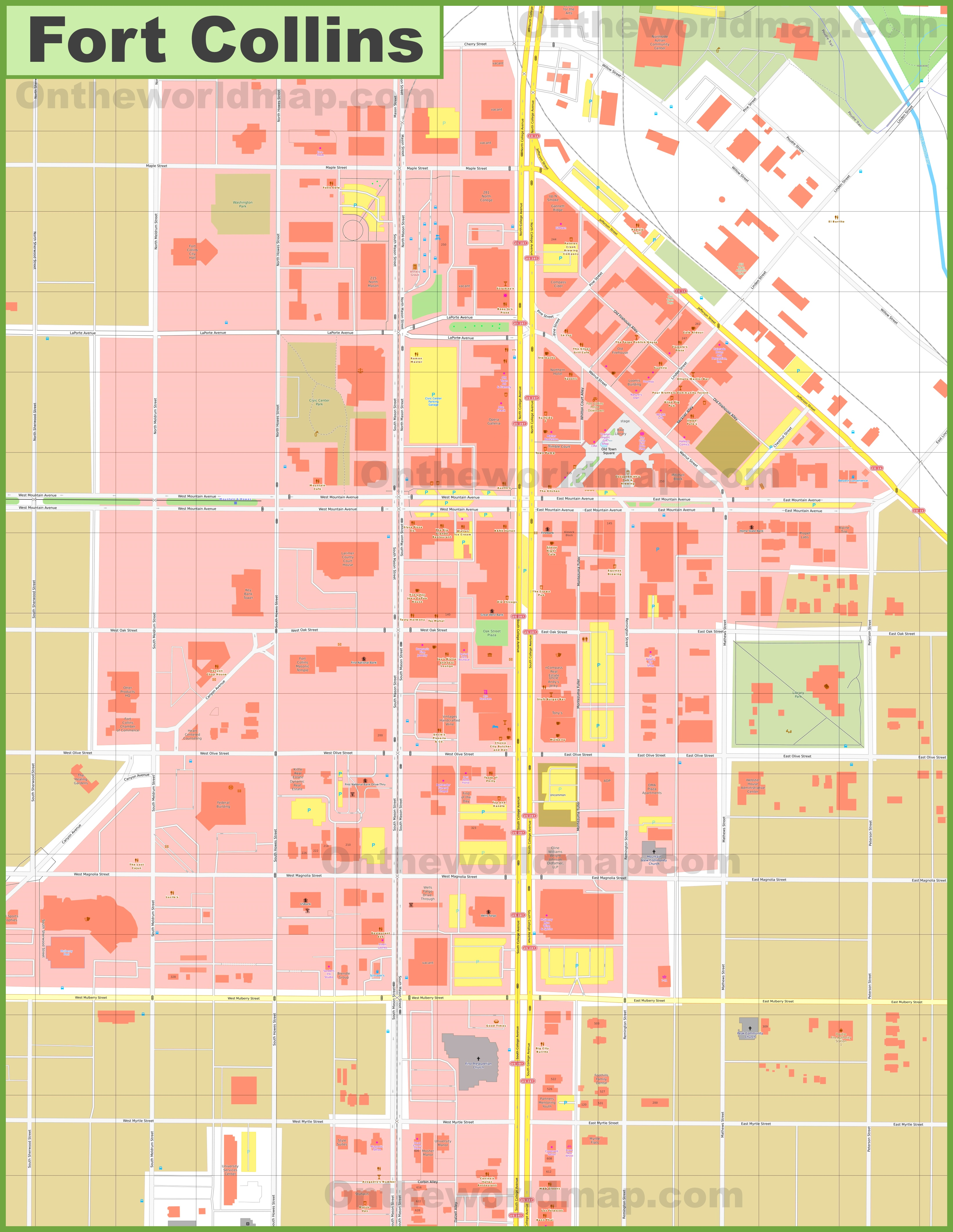 Fort Collins Old Town map