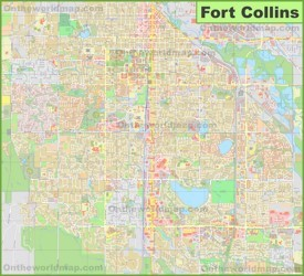 Large detailed map of Fort Collins