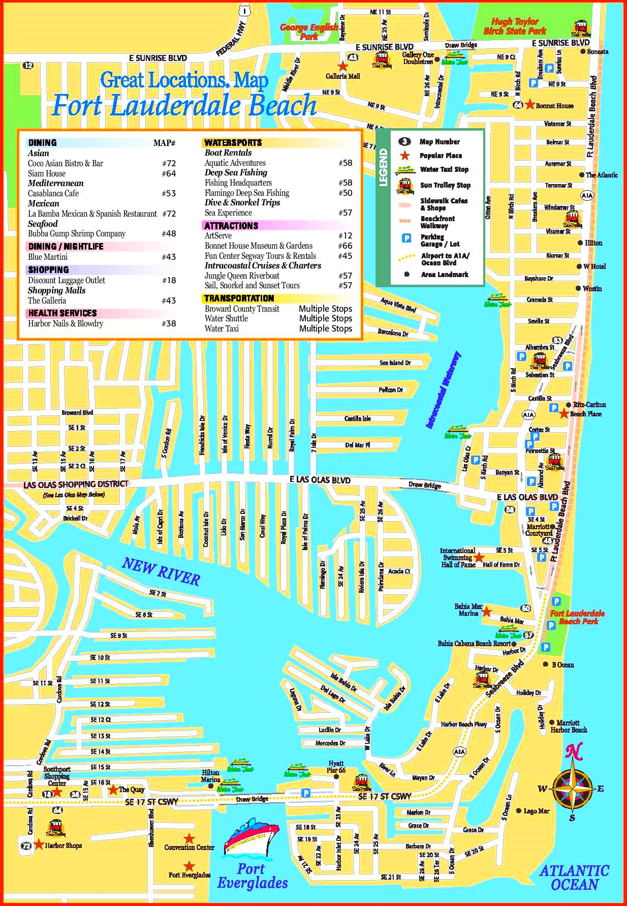 Map Fort Lauderdale Fort Lauderdale Beach tourist map