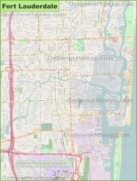 Large detailed map of Fort Lauderdale