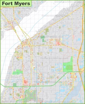 Large detailed map of Fort Myers