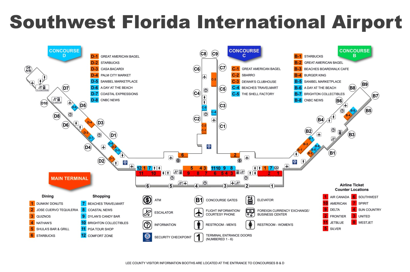 Rsw Airport Map Southwest Florida International Airport map Rsw Airport Map