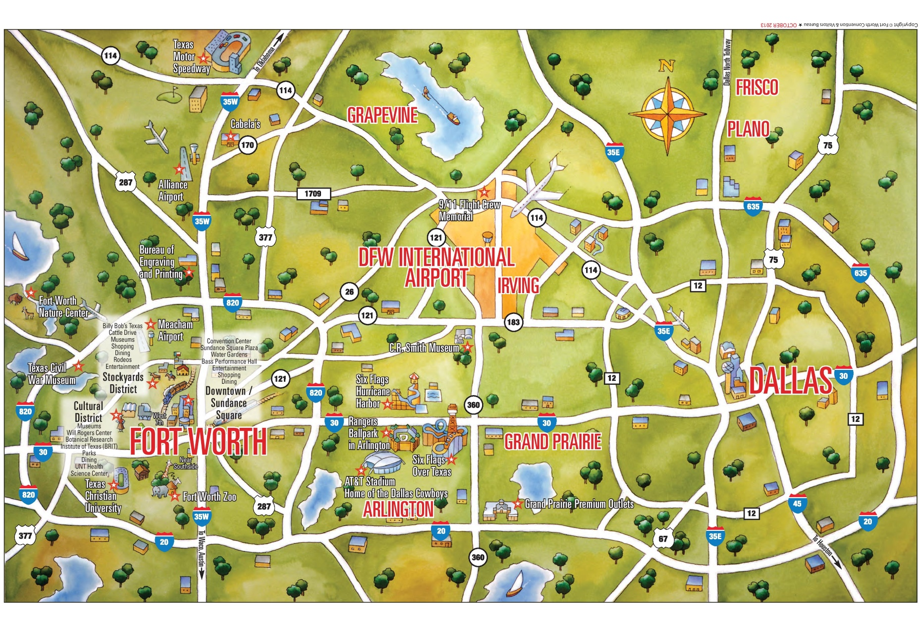 Dallas and Fort Worth tourist map