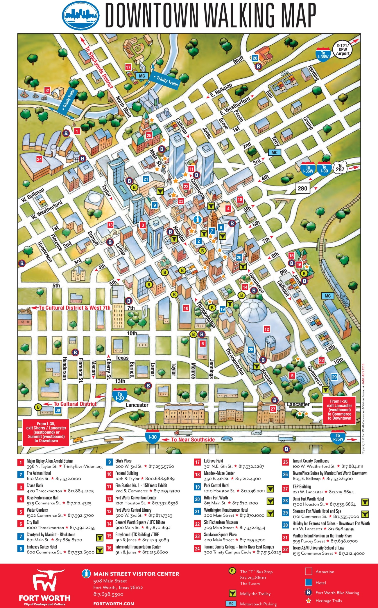 Fort Worth downtown map