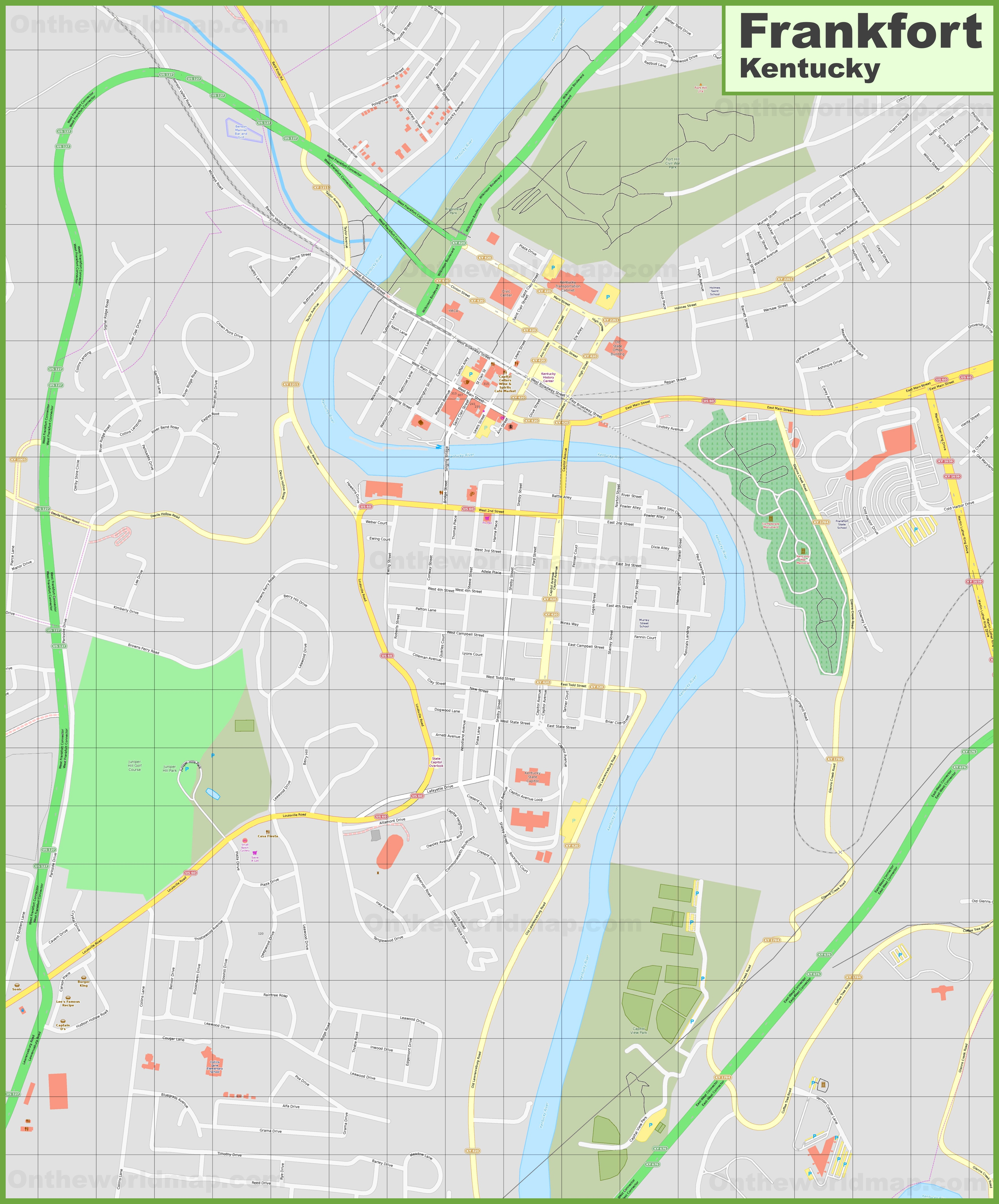 Large detailed map of Frankfort
