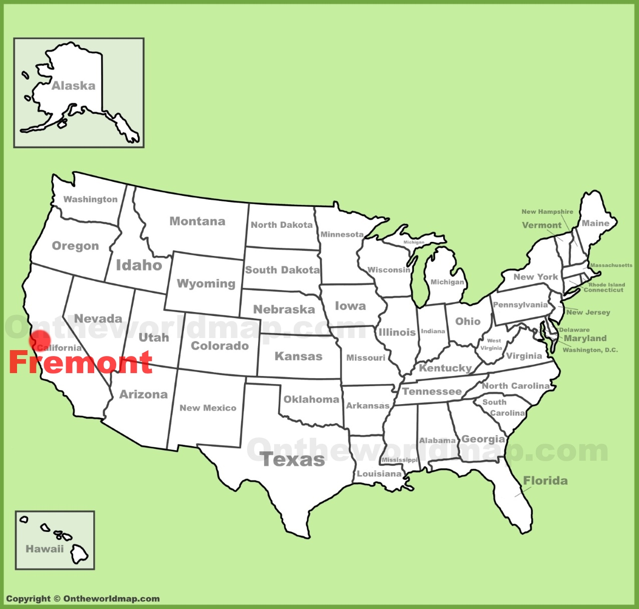 Fremont location on the US Map