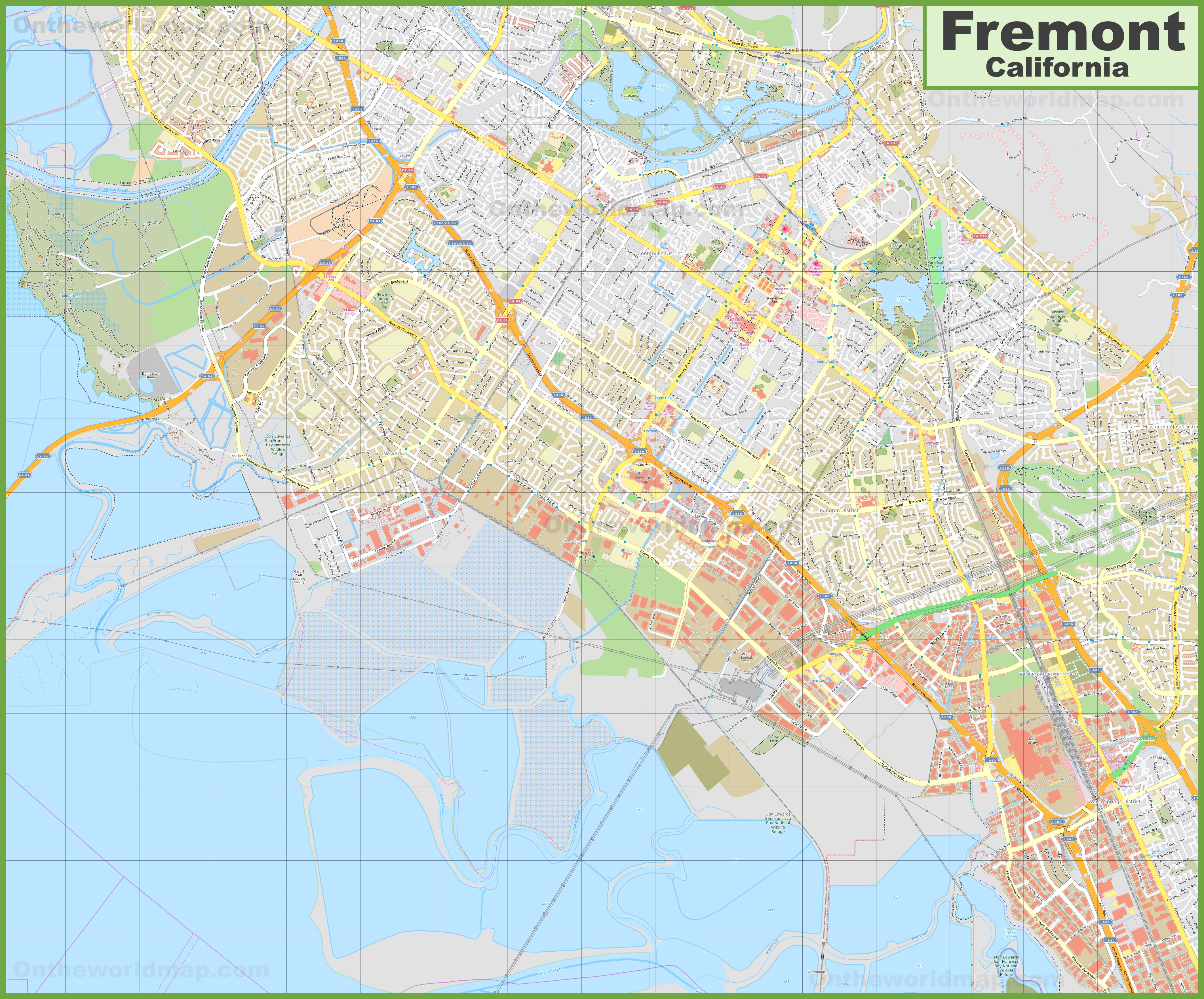 Large detailed map of Fremont