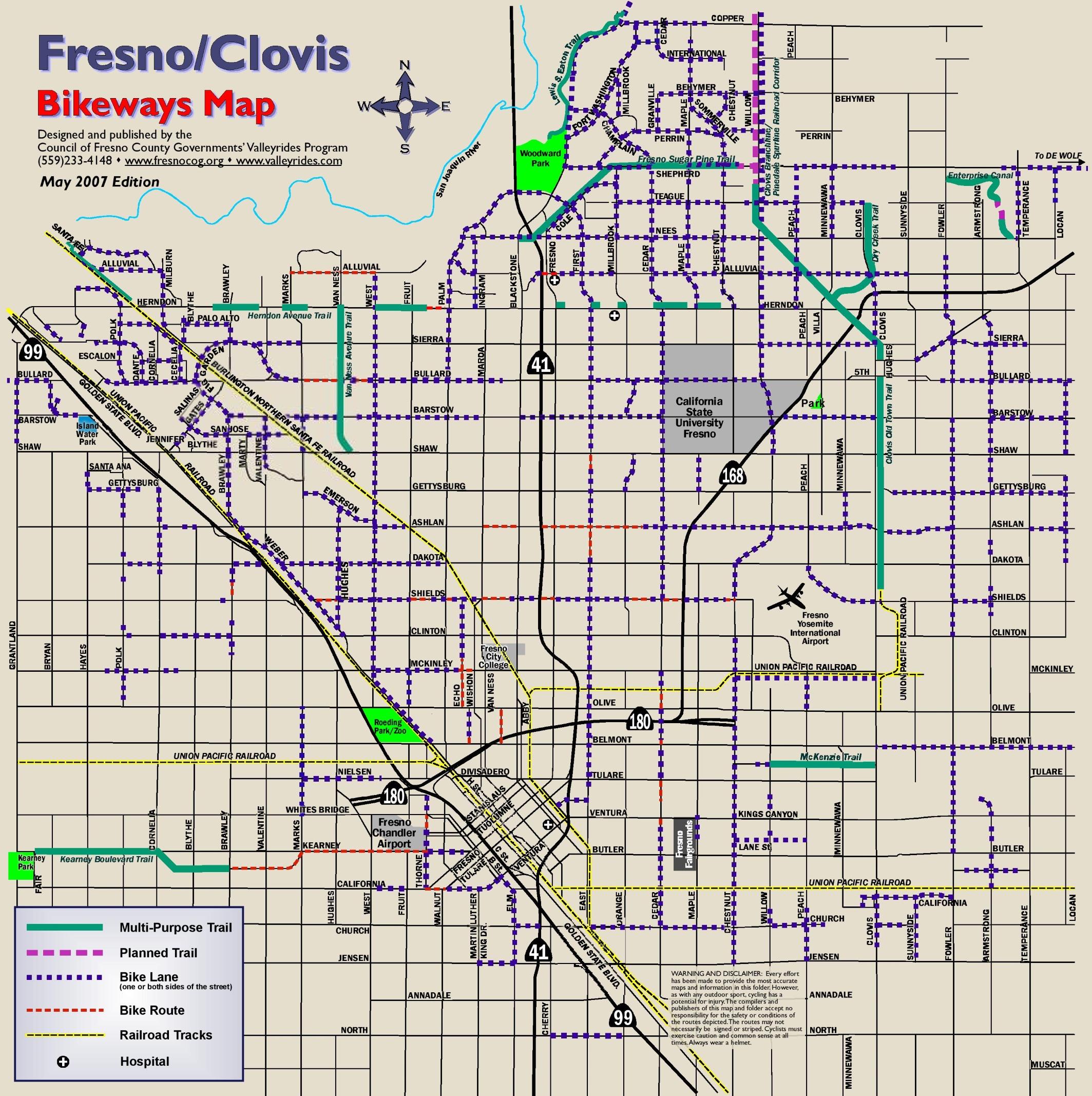 Fresno bike map