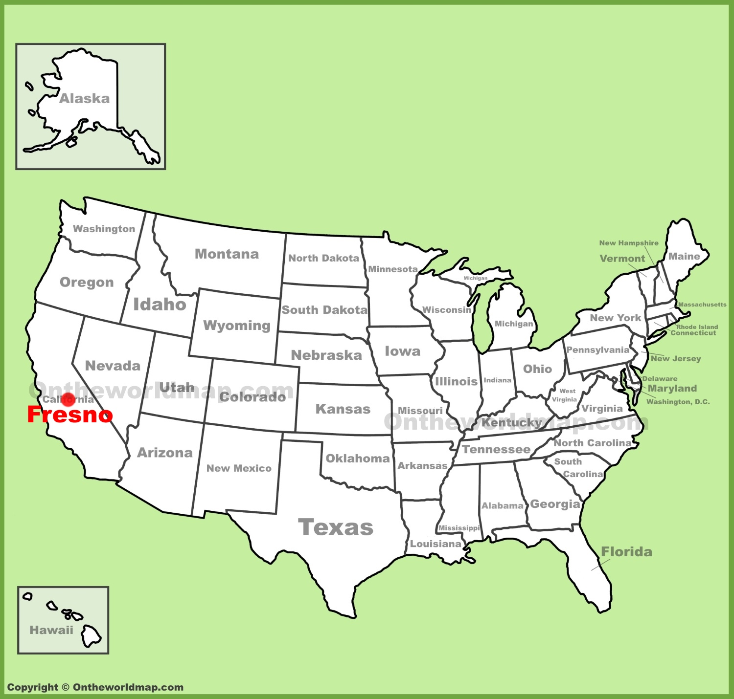 Fresno location on the U.S. Map on