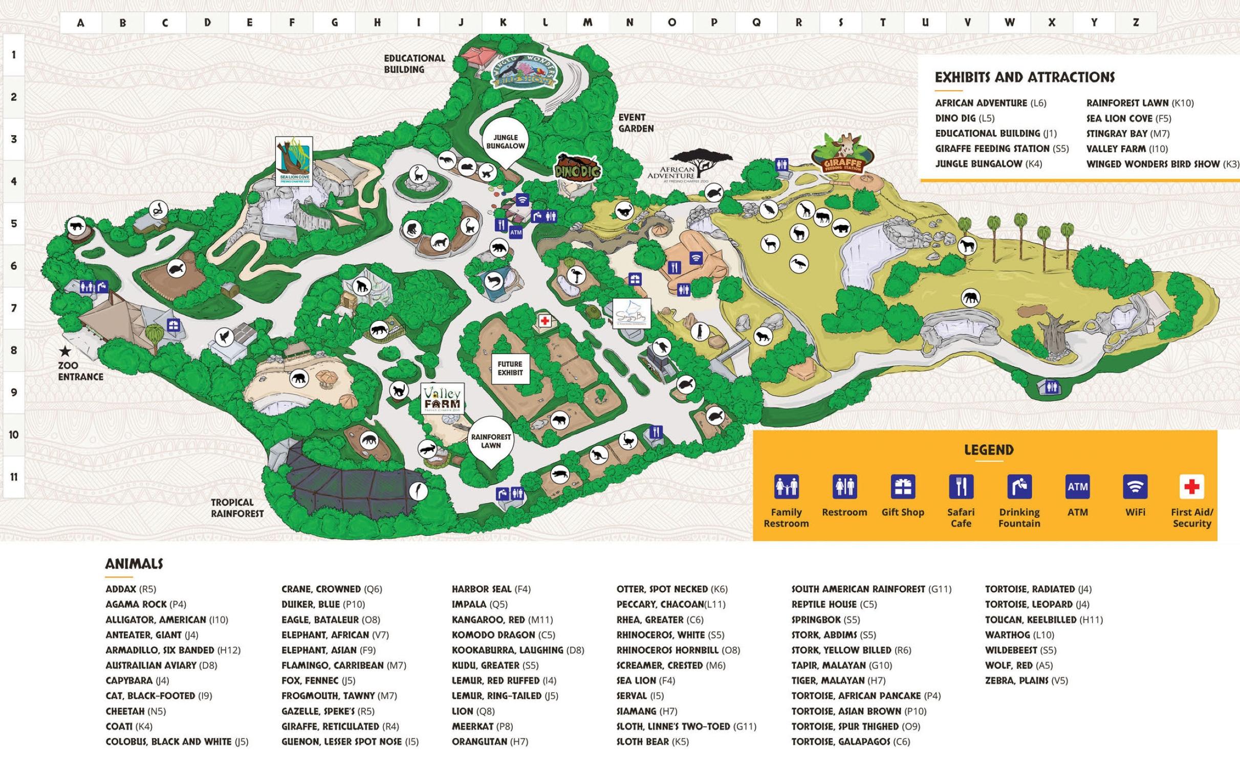 Fresno Zoo Map