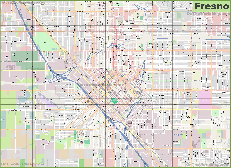 Large detailed map of Fresno