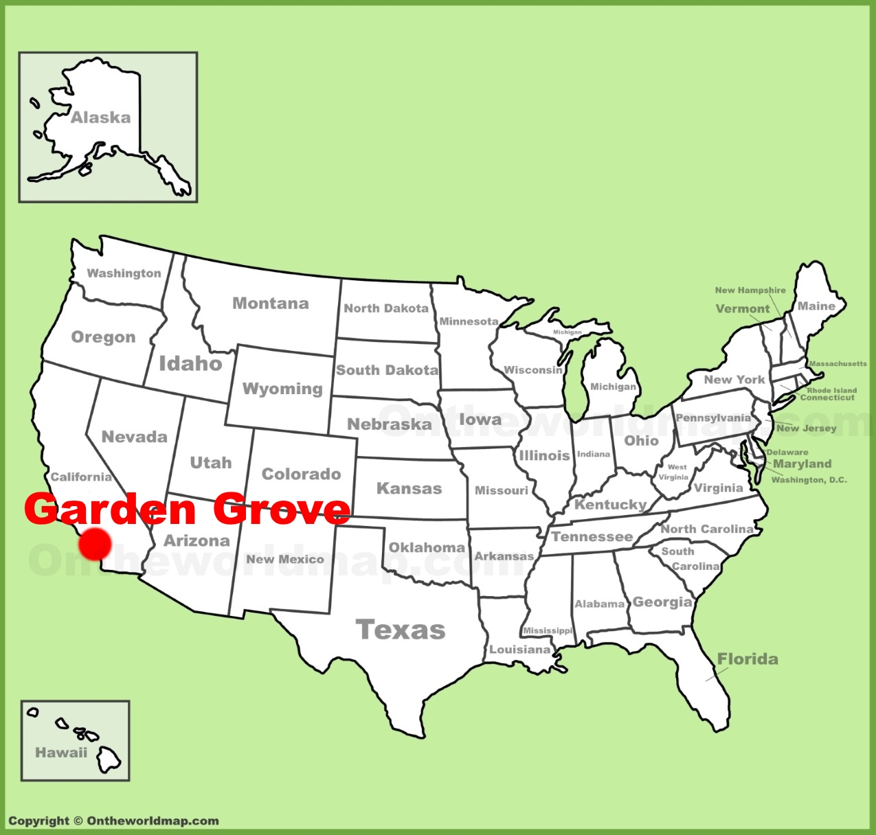 Garden Grove location on the US Map