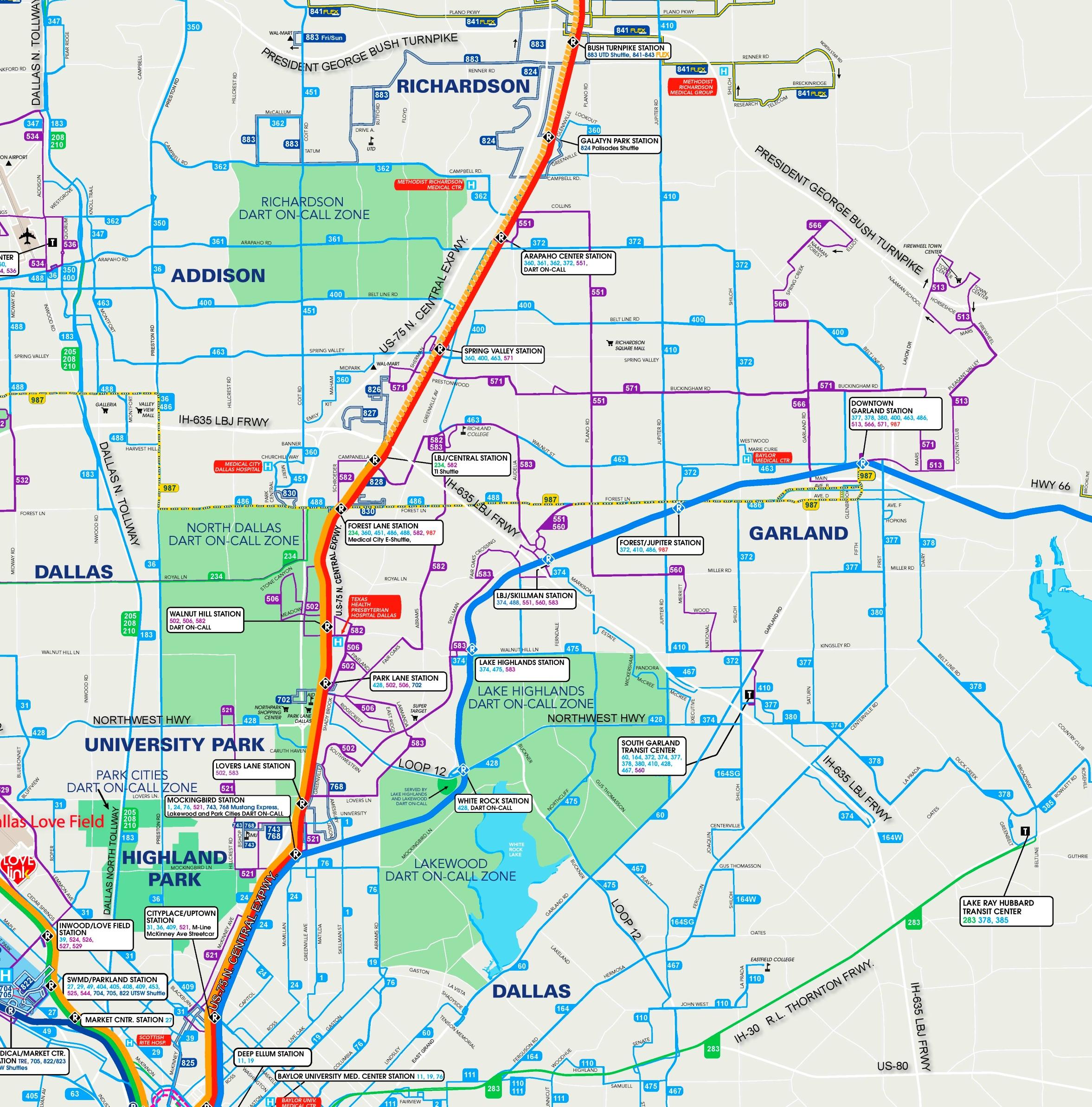 Garland bus map