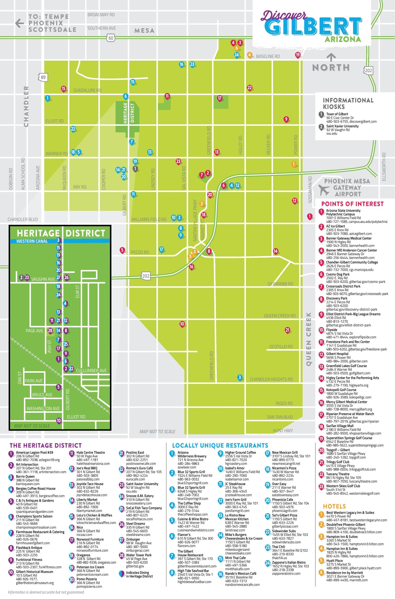 Gilbert tourist map