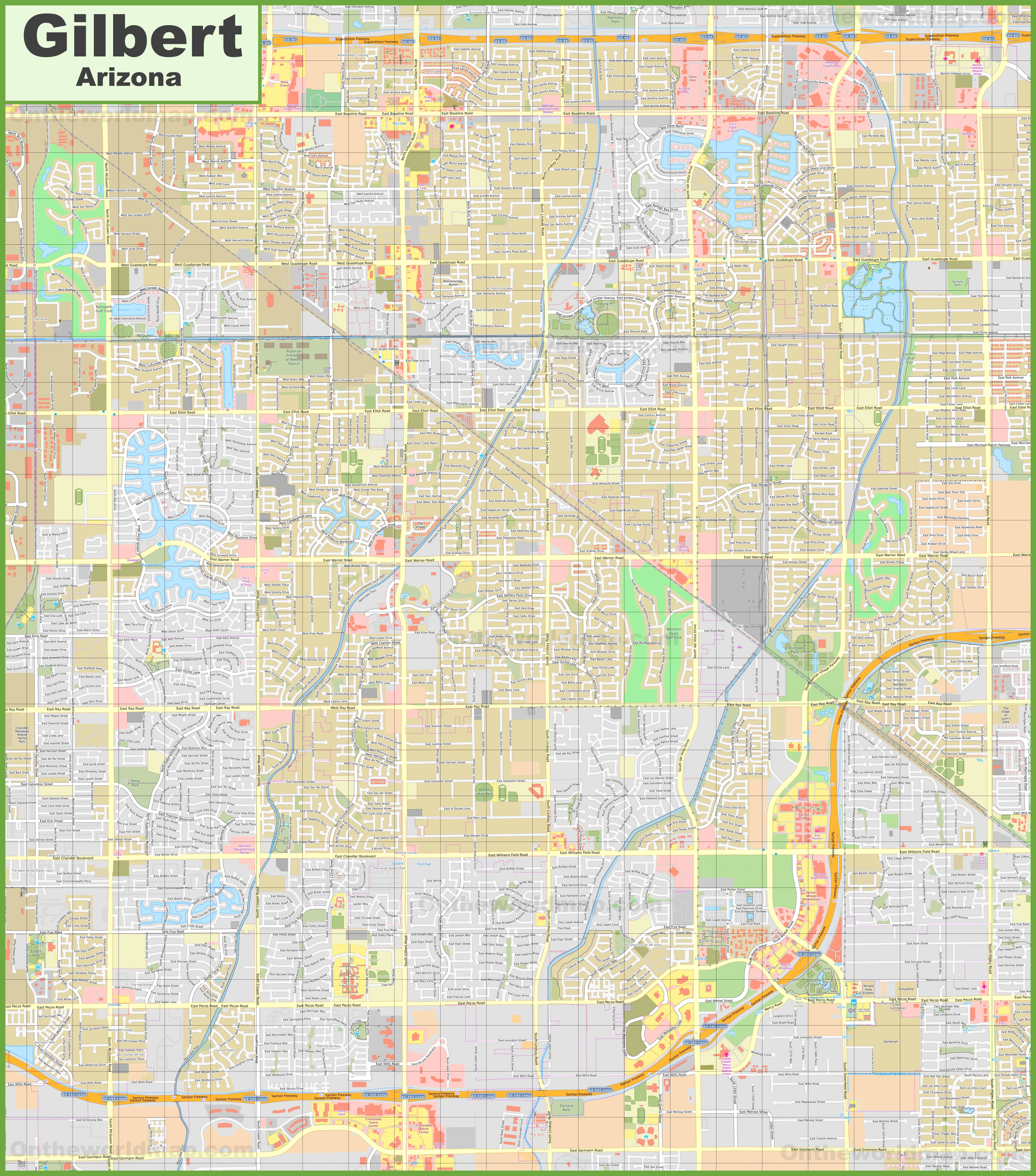 Large detailed map of Gilbert