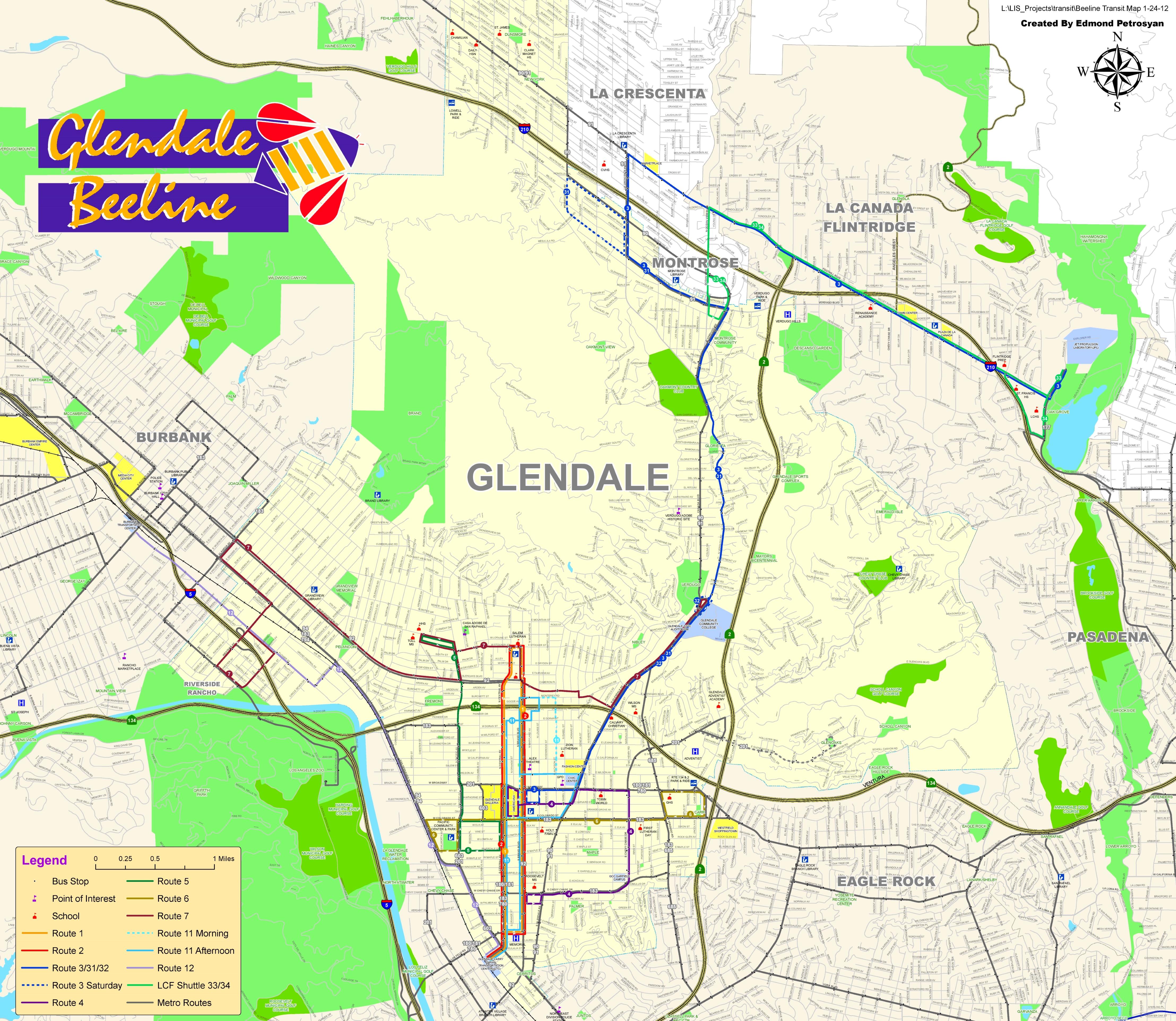 Glendale Beeline Map