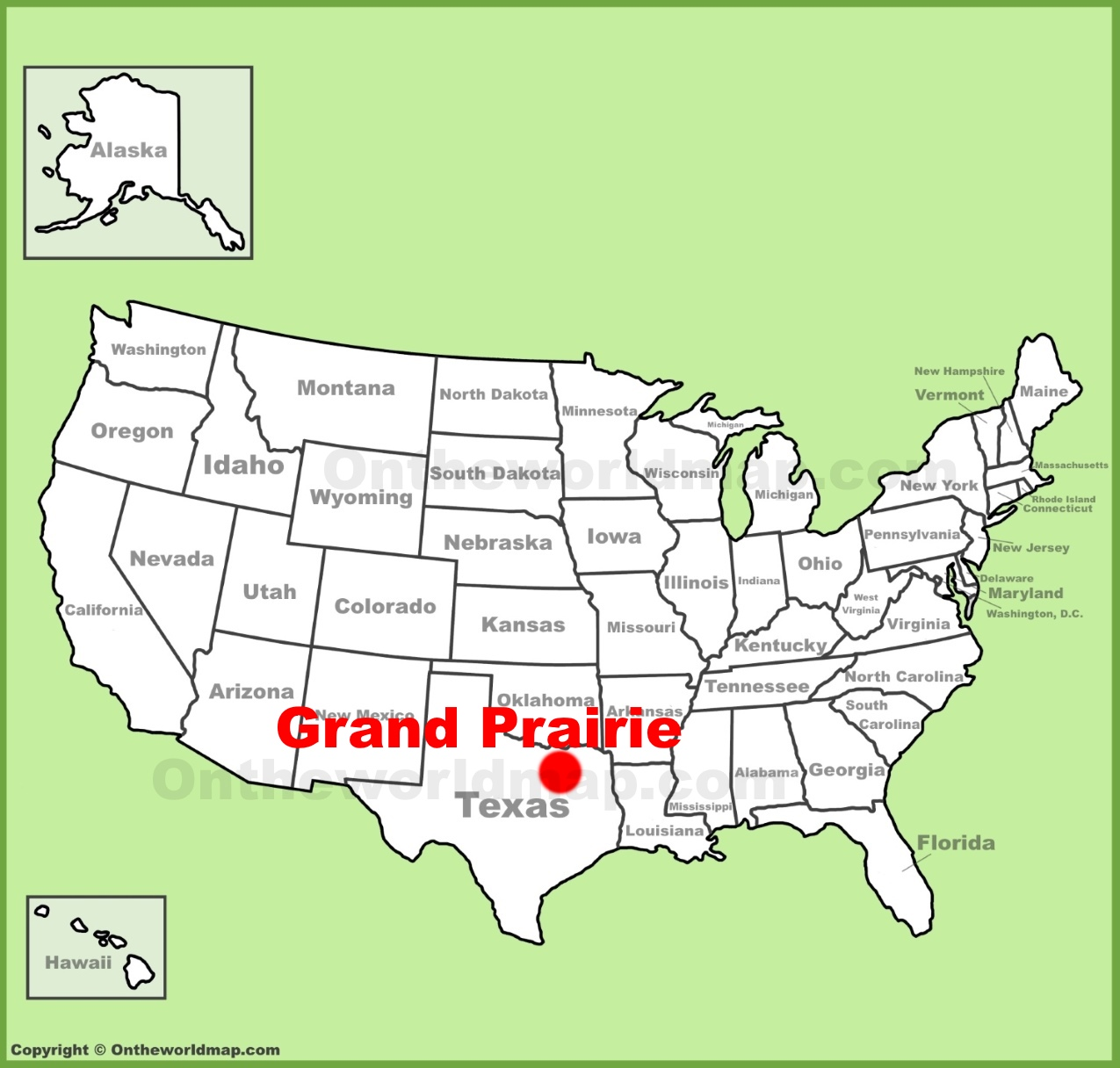 Grand Prairie location on the US Map