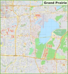 Large detailed map of Grand Prairie