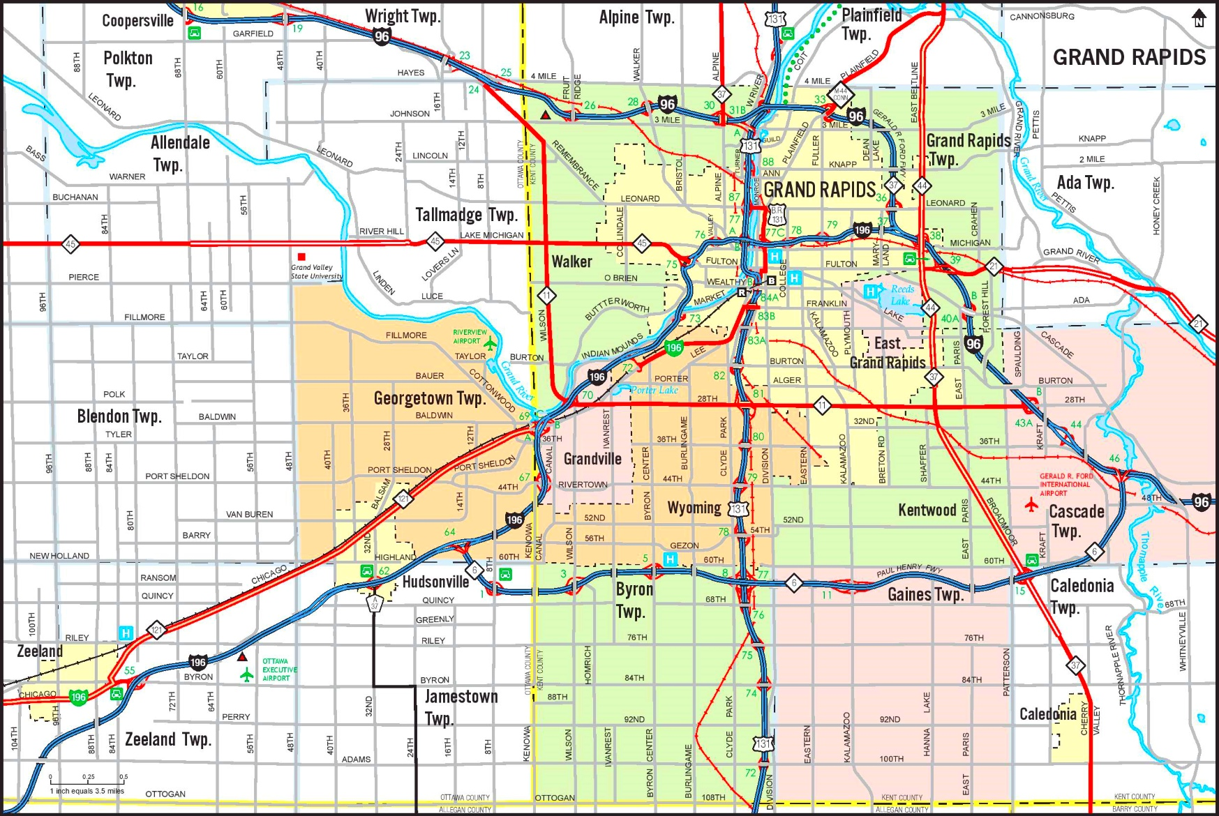 Grand Rapids area road map