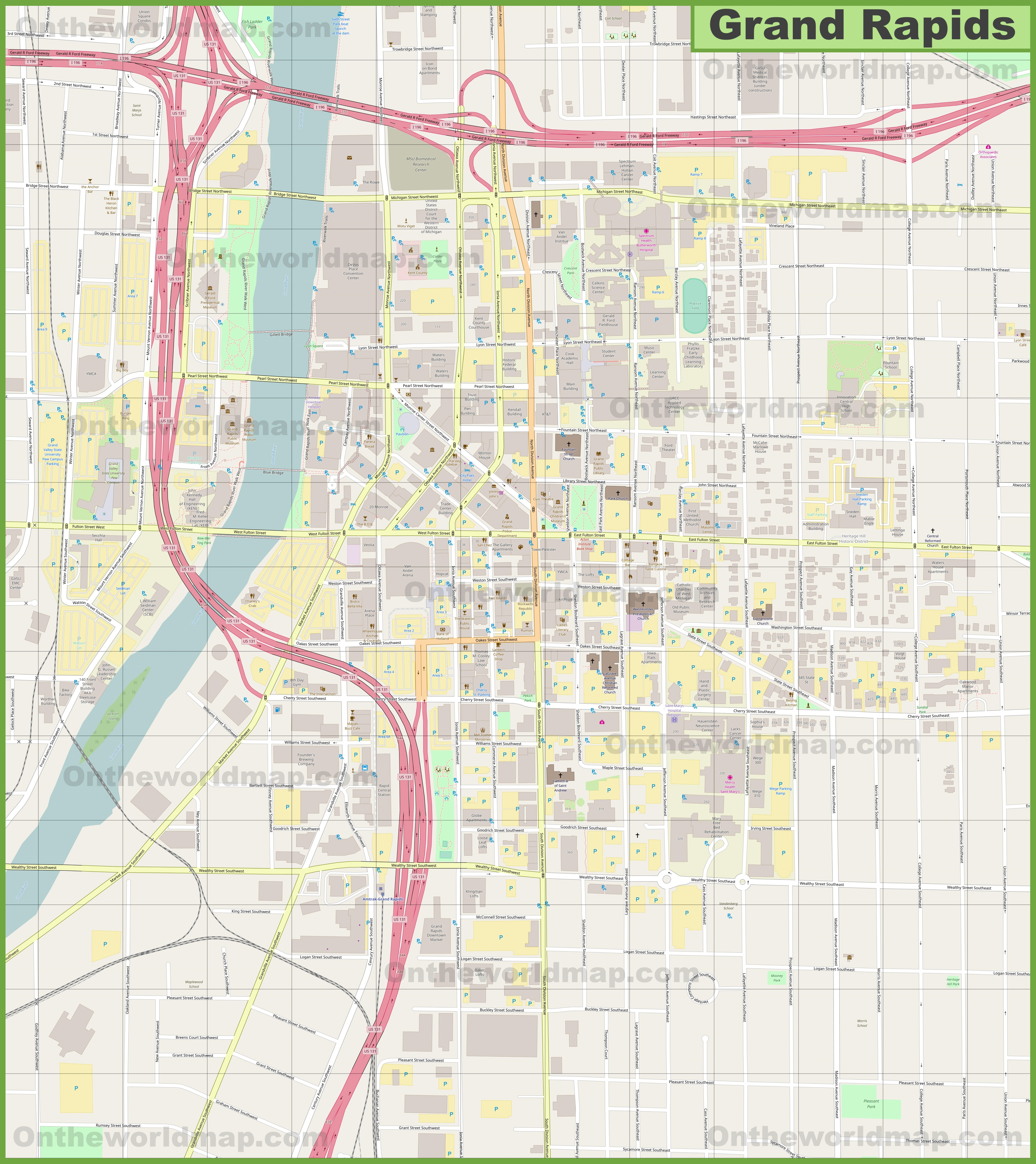 Grand Rapids downtown map