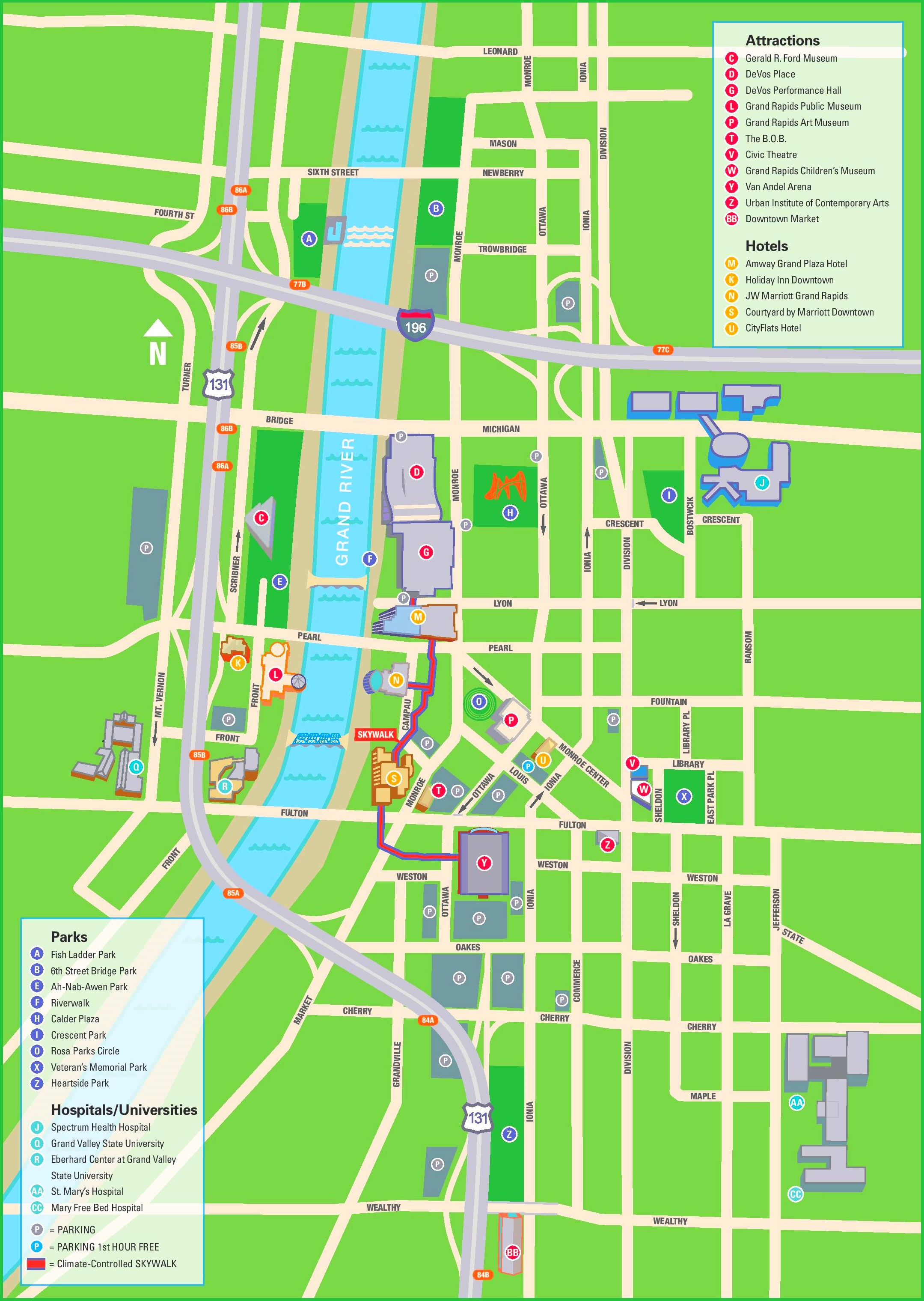 Grand Rapids hotels and sightseeings map