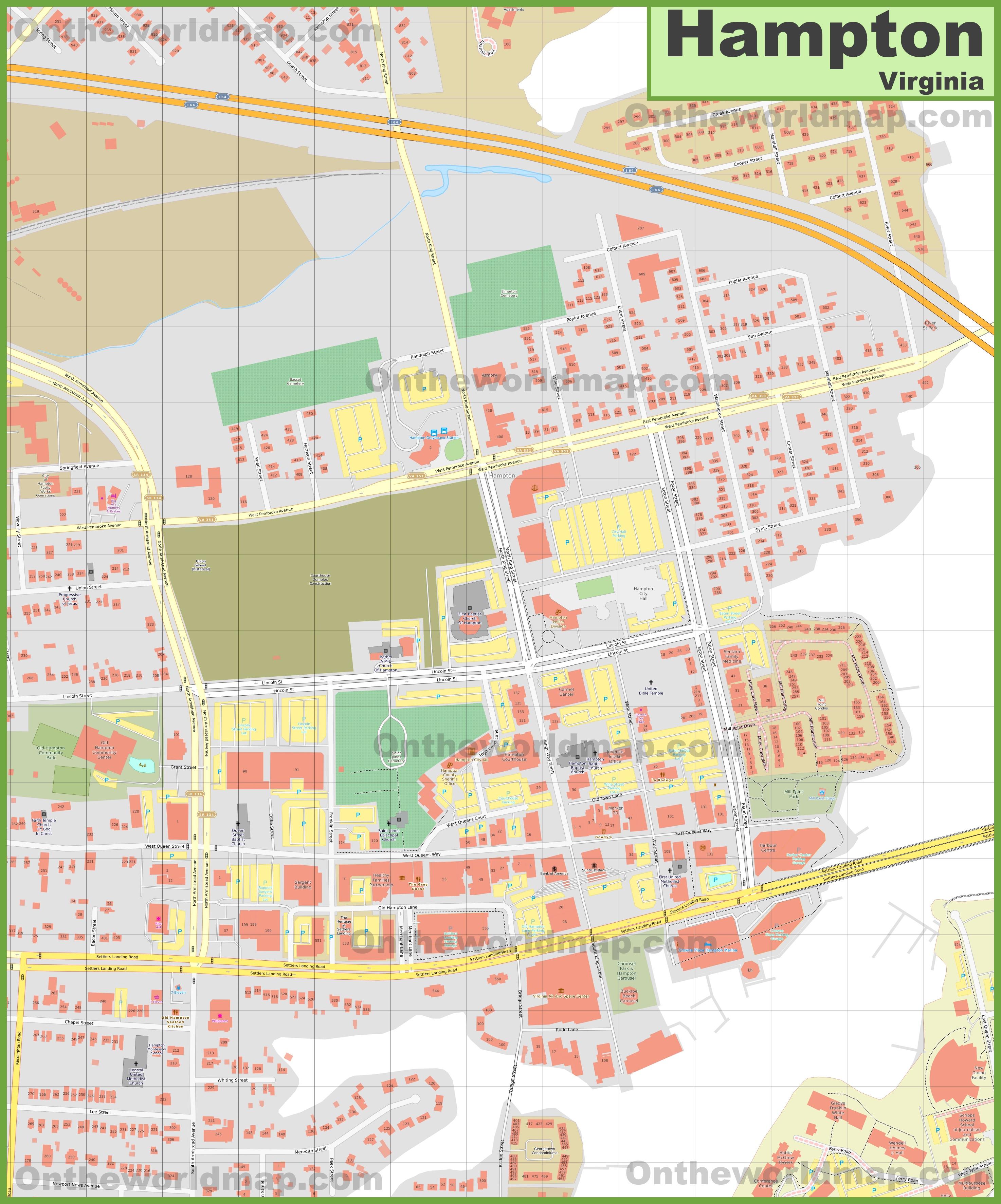 Hampton downtown map