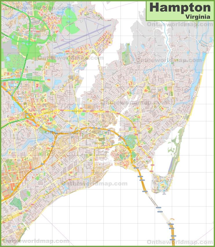 detailed map of Hampton