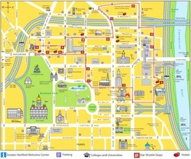 Hartford hotels and sightseeings map