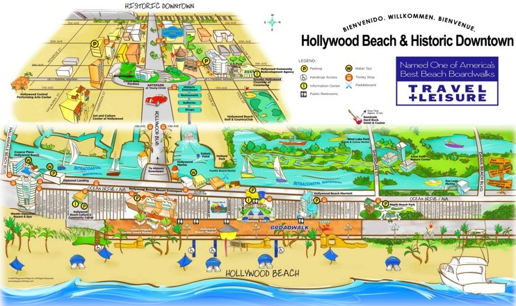 Hollywood Beach and Historic Downtown map