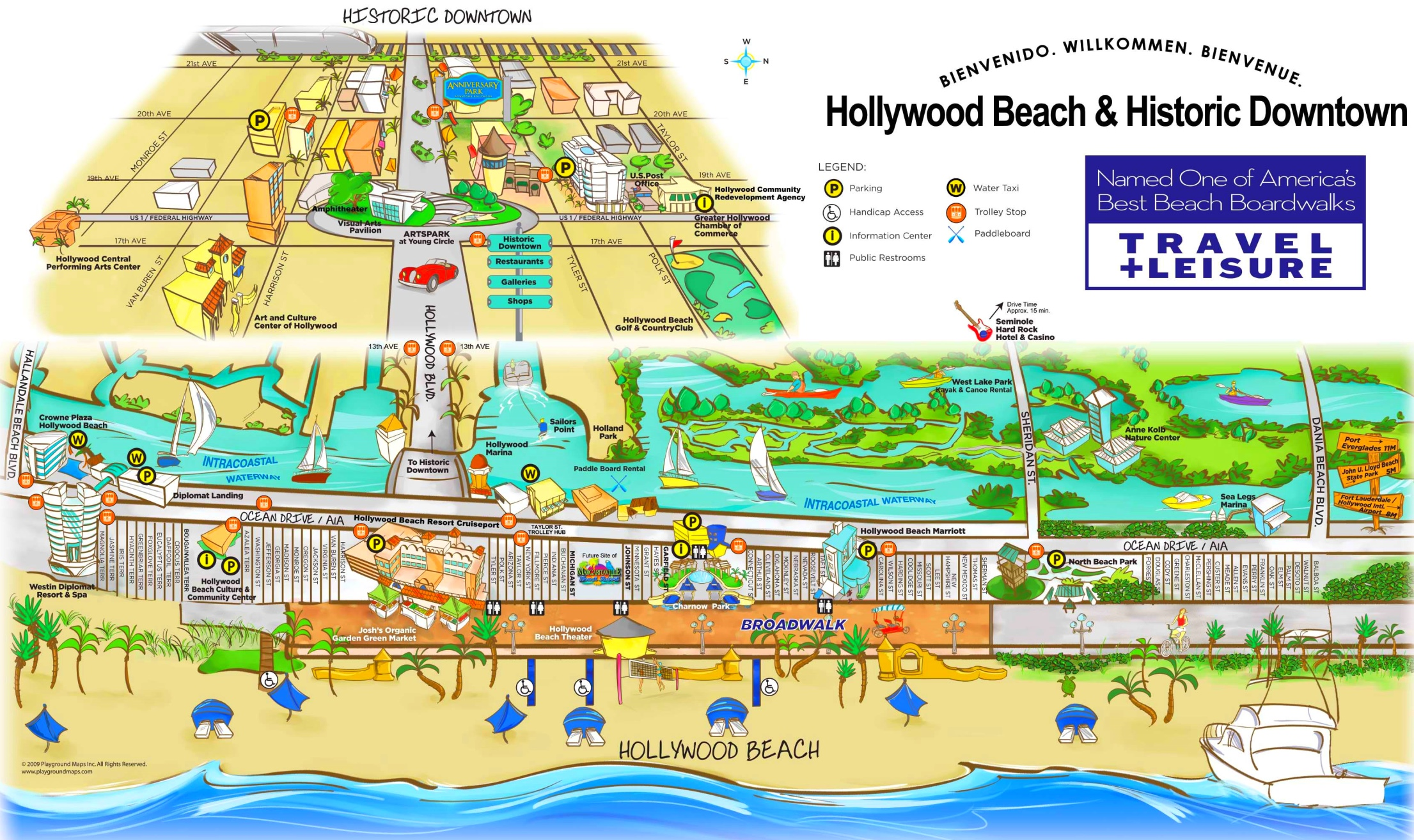 Map Of Hollywood Florida Hollywood Beach and Historic Downtown map