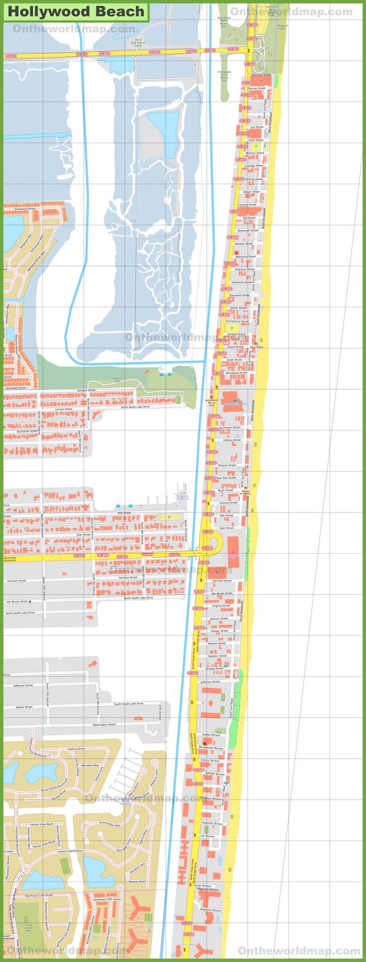 Hollywood Beach map