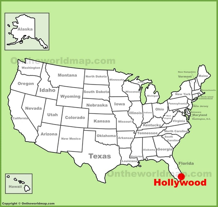 Hollywood location on the U.S. Map