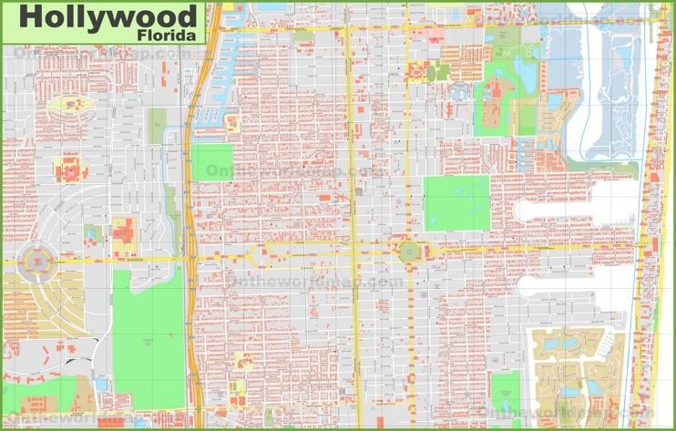 Large detailed map of Hollywood (Florida)