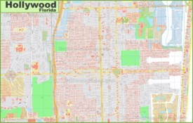 Large detailed map of Hollywood (Florida)