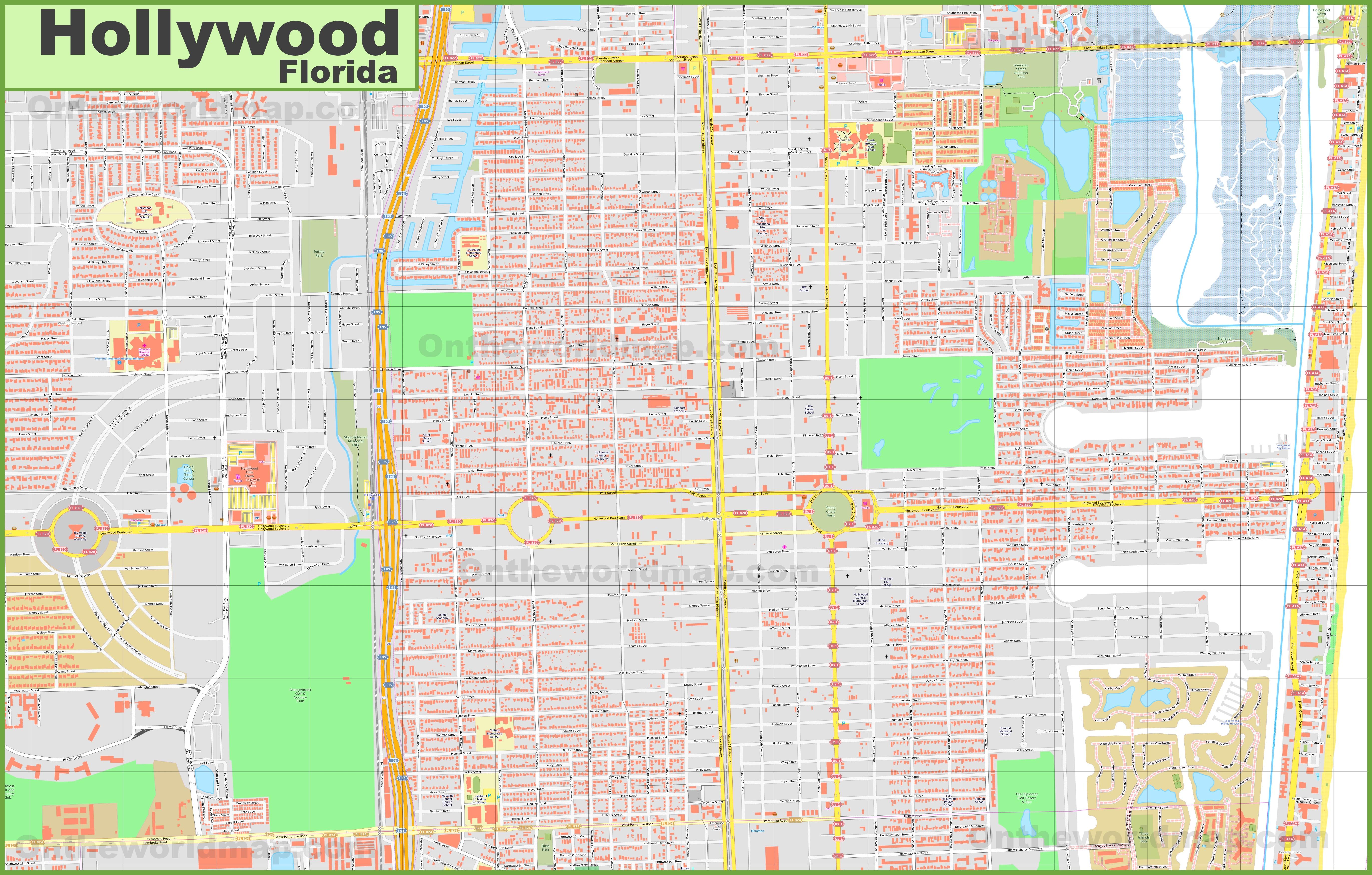 Large Detailed Map Of Hollywood Florida