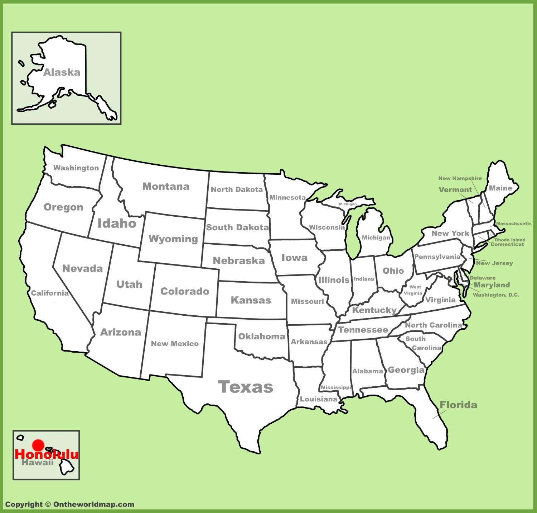 Honolulu location on the US Map