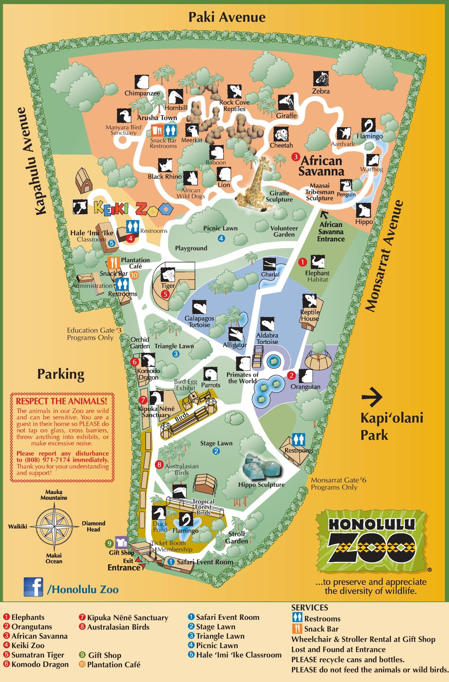 Map Of Honolulu Honolulu Zoo map Map Of Honolulu