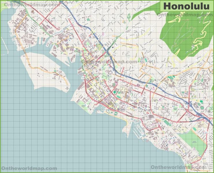 Large detailed map of Honolulu
