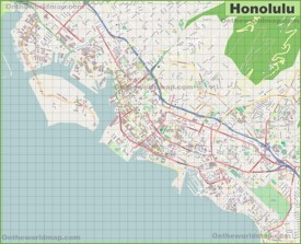 Large detailed map of Honolulu