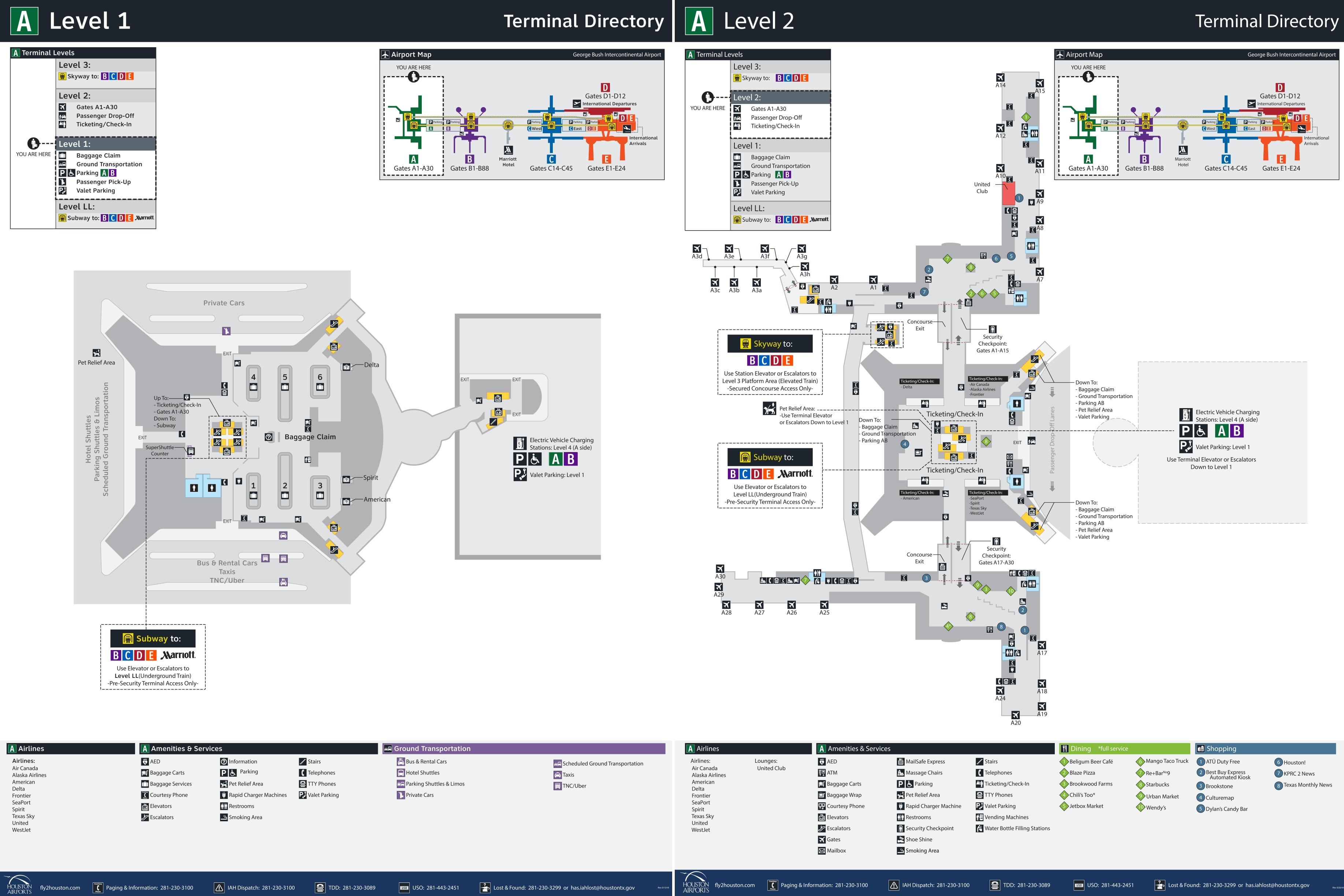 houston airport terminal a map