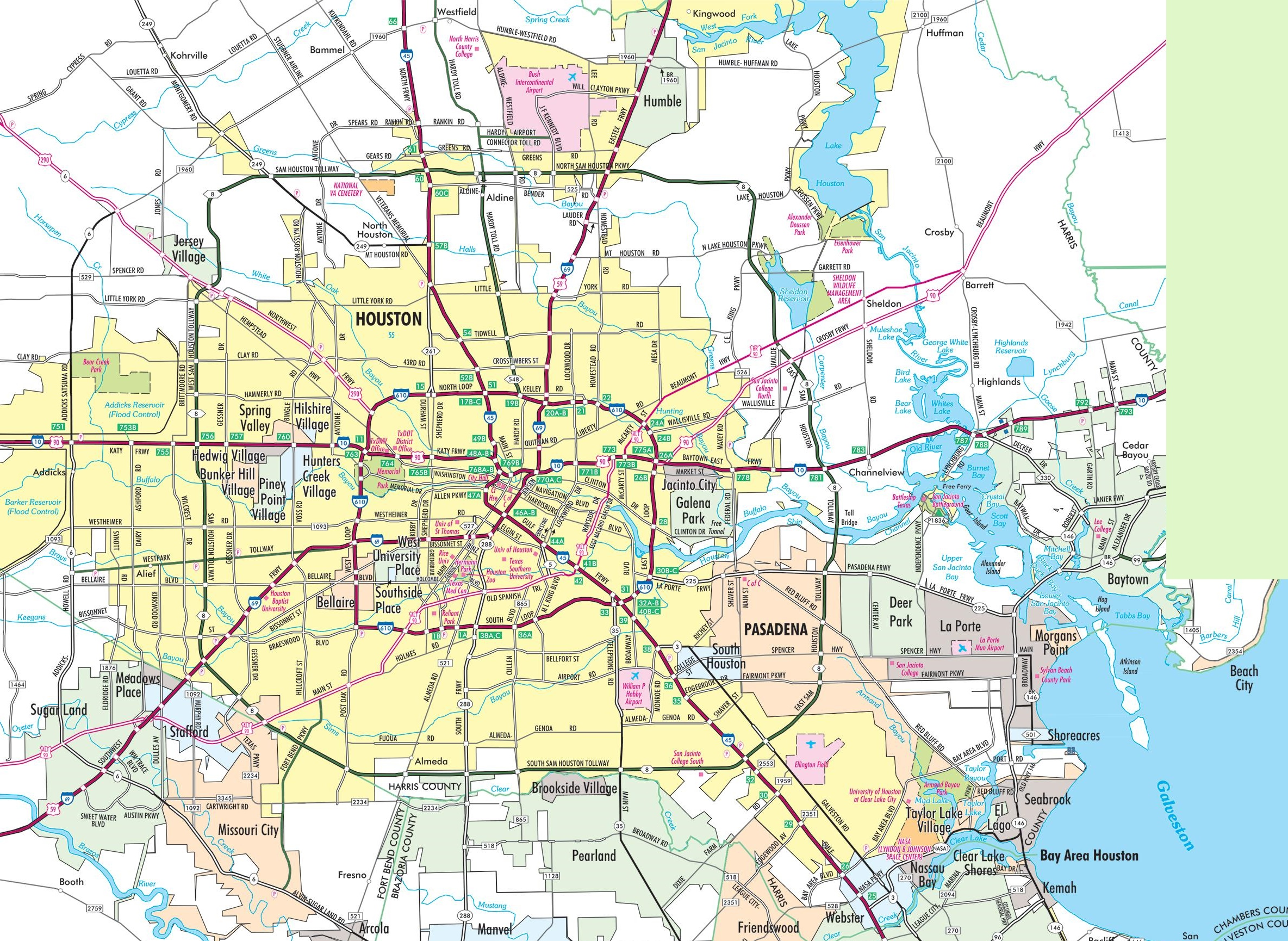 Houston Area Road Map - Houston texas on us map